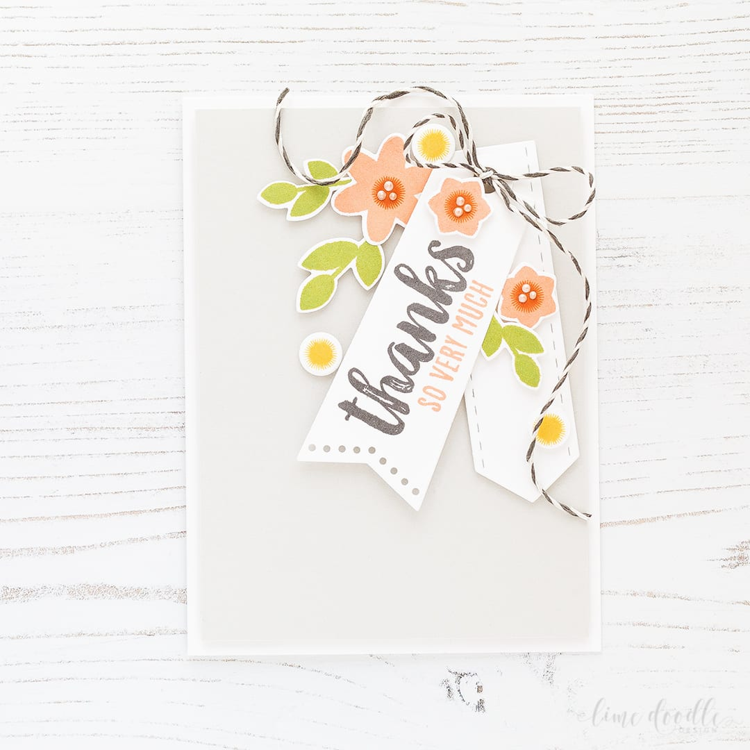 Tags are the focal point in this clean and simple thank you card. Find out more about this card by clicking on the following link: http://limedoodledesign.com/2016/11/thanks-so-very-much-focal-point-tags/