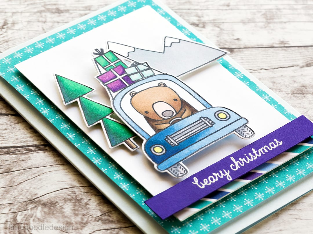 Cute bear Christmas card using the new Bearing Gifts set from Reverse Confetti . Find out more about this card by clicking on the following link: http://limedoodledesign.com/2016/11/bearing-gifts-blog-hop/