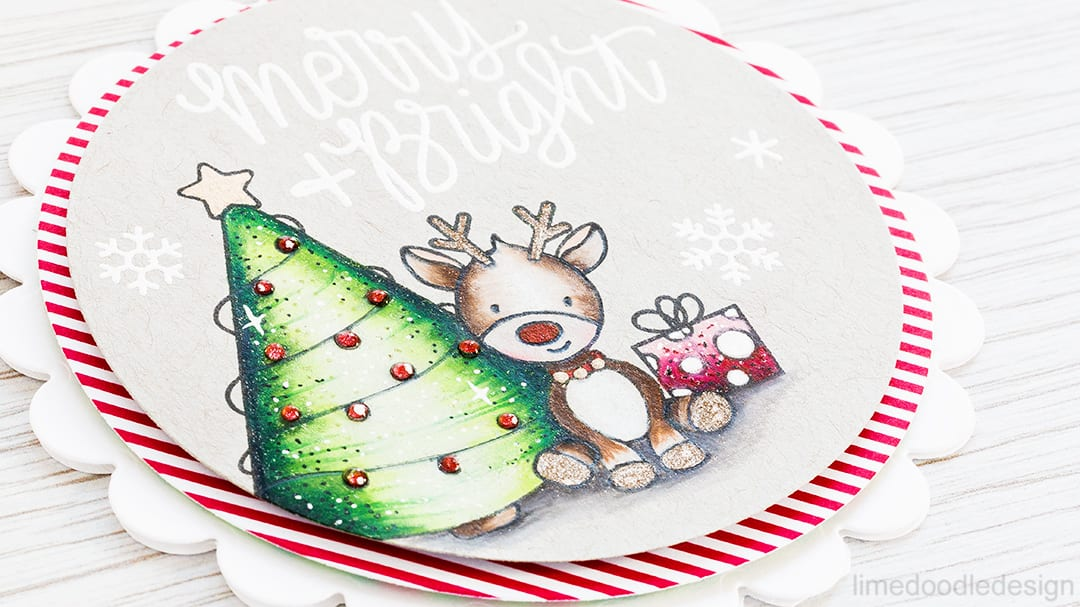 Coloring with pencils on kraft card and the new December card kit from Simon Says Stamp. Find out more about this cute Christmas card by clicking on the following link: http://limedoodledesign.com/2016/11/coloring-with-pencils-on-kraft-card/
