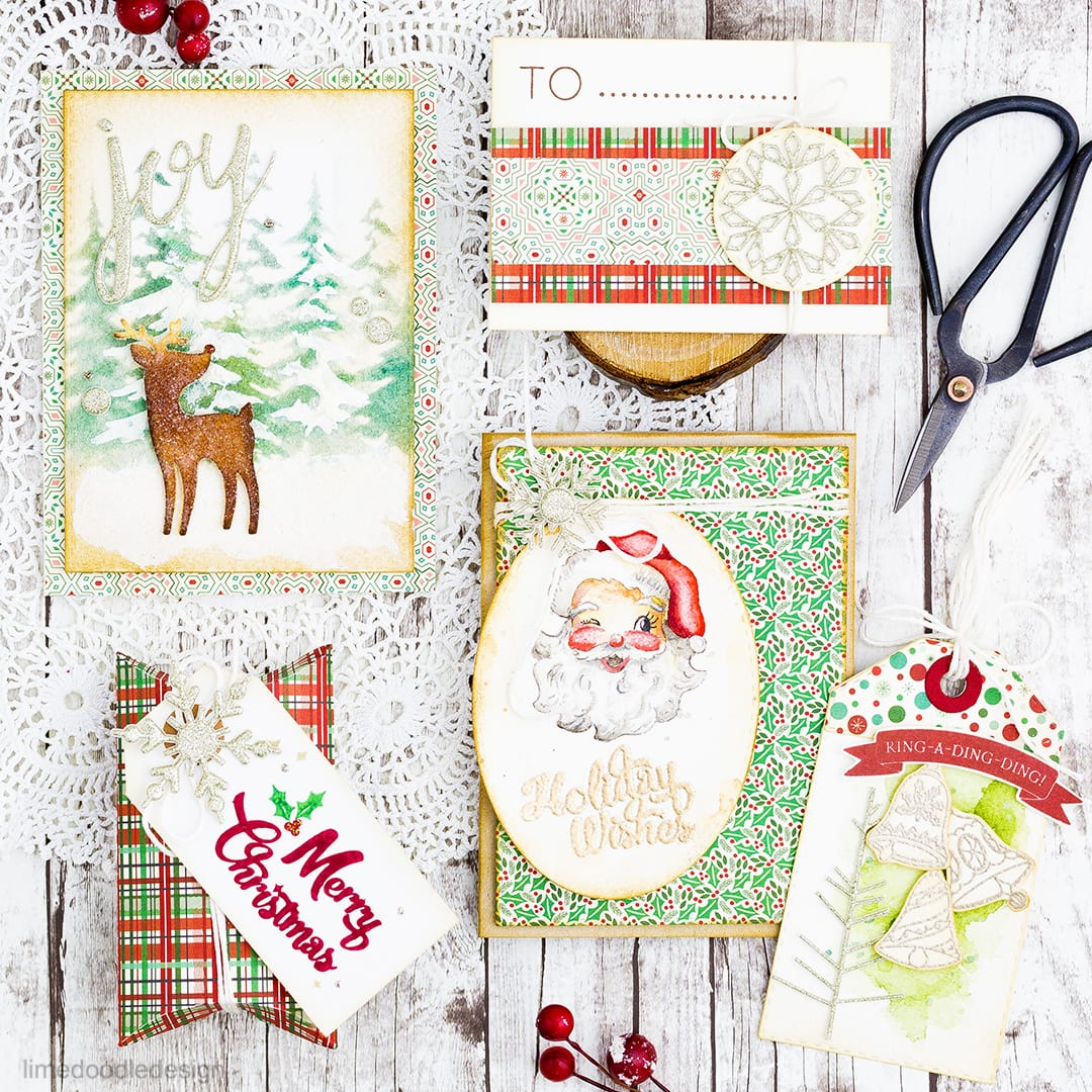 Vintage inspired Christmas using the Limited Edition Card Kit from Simon Says Stamp. Find out more by clicking on the following link: http://limedoodledesign.com/2016/11/simon-says-stamp-holiday-blog-hop-giveaway/