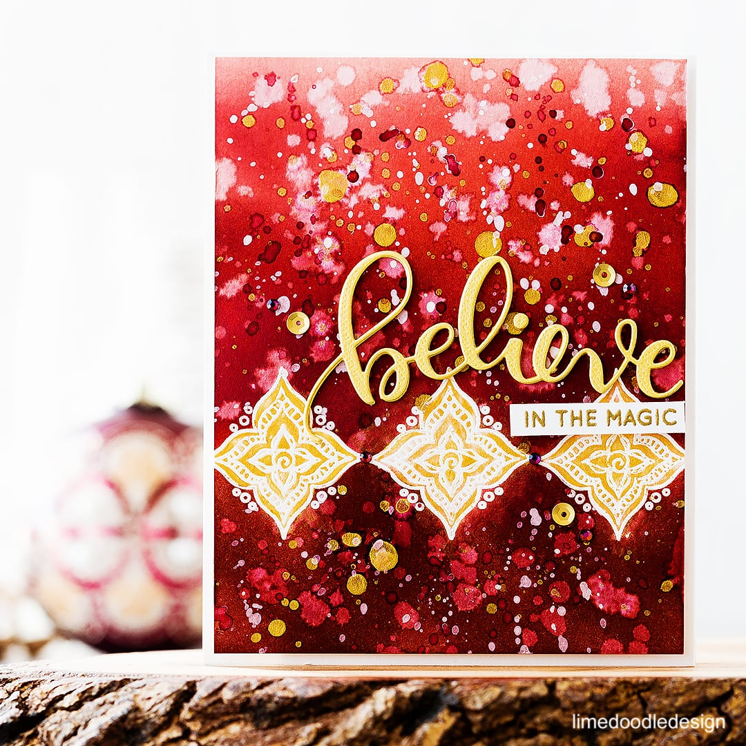 Believe in the magic - video step by step of creating this deep burgundy and gold splattered background inspired by Christmas ornaments. Find out more about this Christmas card by clicking on the following link: http://limedoodledesign.com/2016/11/video-believe-in-the-magic/
