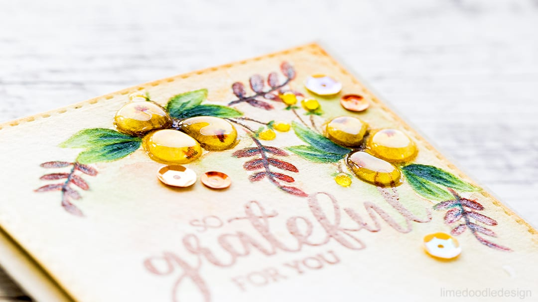 Glossy Autumn Berries. So Grateful For You. Find out more about this card by clicking on the following link: http://limedoodledesign.com/2016/11/glossy-autumn-berries/