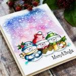 Distress Ink Watercolored Snowmen