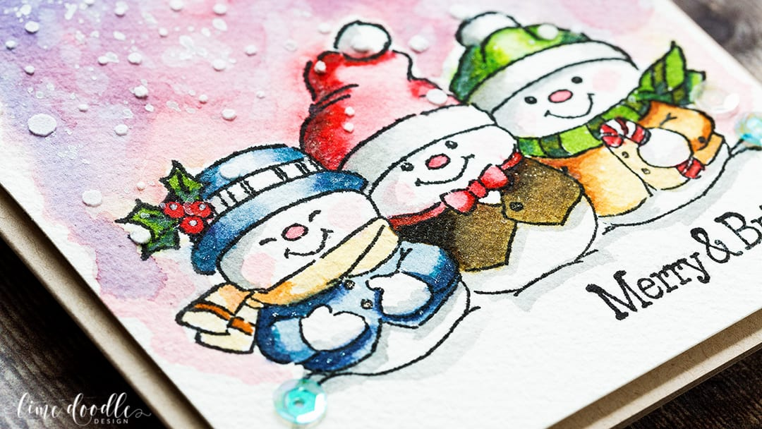I loved watercoloring these snowmen from the Art Impressions Holly Jolly set with Distress Inks. Find out more about this Christmas card by clicking on the following link: http://limedoodledesign.com/2016/12/distress-ink-watercolored-snowmen/