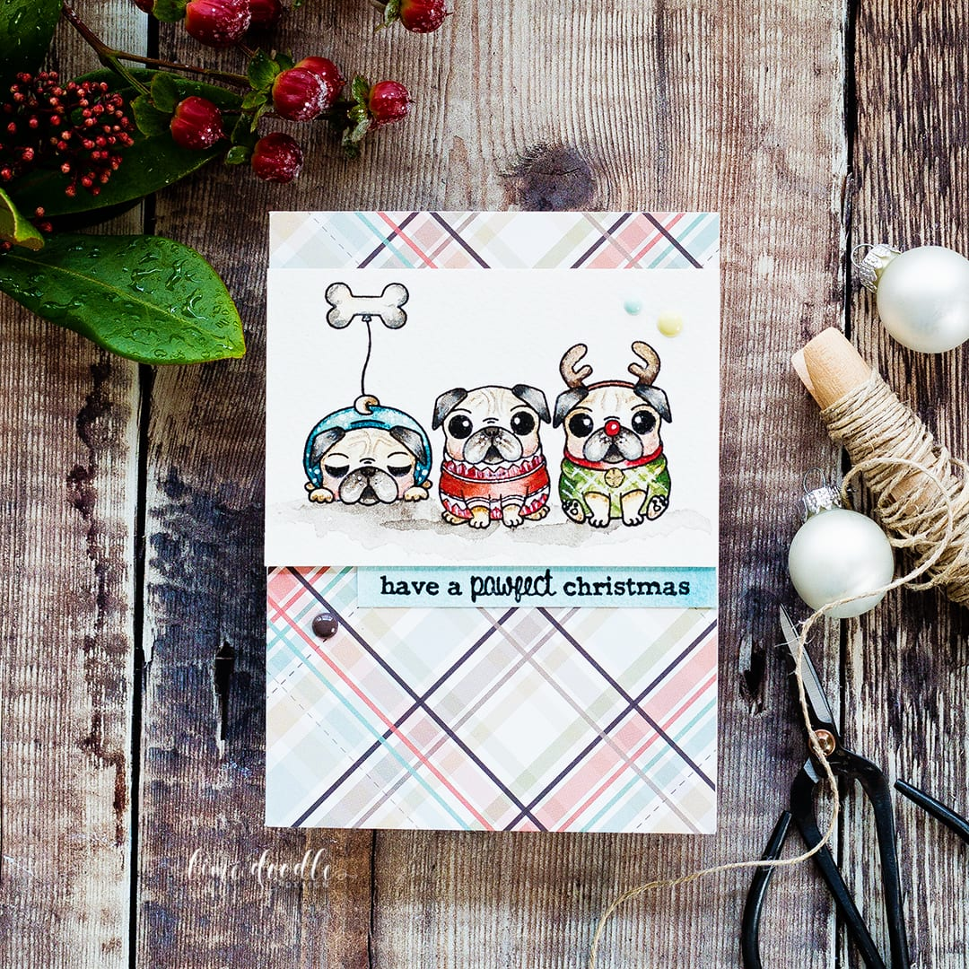 Watercolored cute pug dog Christmas card by Debby Hughes. Find out more about this Christmas card by clicking on the following link: http://limedoodledesign.com/2016/12/advent-calendar-extravaganza-with-taheerah-atchia/