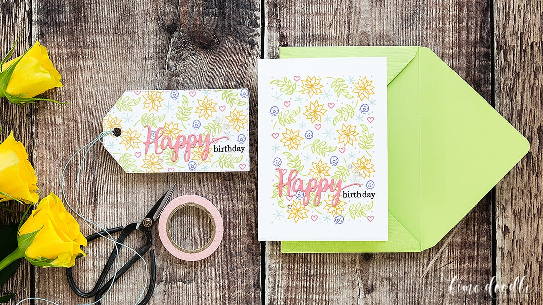 One layer spring birthday card made from Christmas stamp sets. Find out more about this card by clicking on the following link: http://limedoodledesign.com/2016/12/one-layer-spring-birthday-card-using-christmas-stamps/