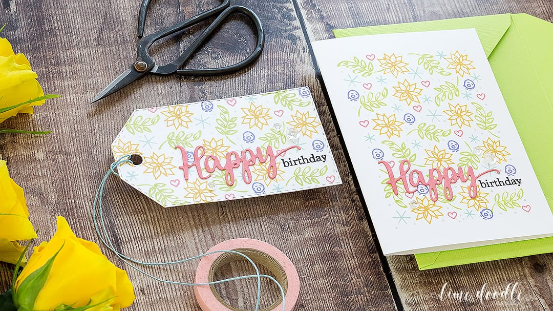 One Layer Spring Birthday Card Using Christmas Stamps