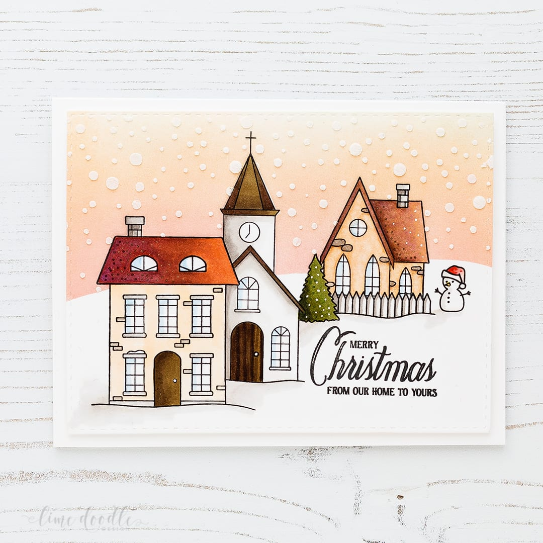 Snowy Christmas Town scene colored with Copic markers. Find out more about this Christmas card by clicking on the following link: http://limedoodledesign.com/2016/12/snowy-christmas-town-scene/