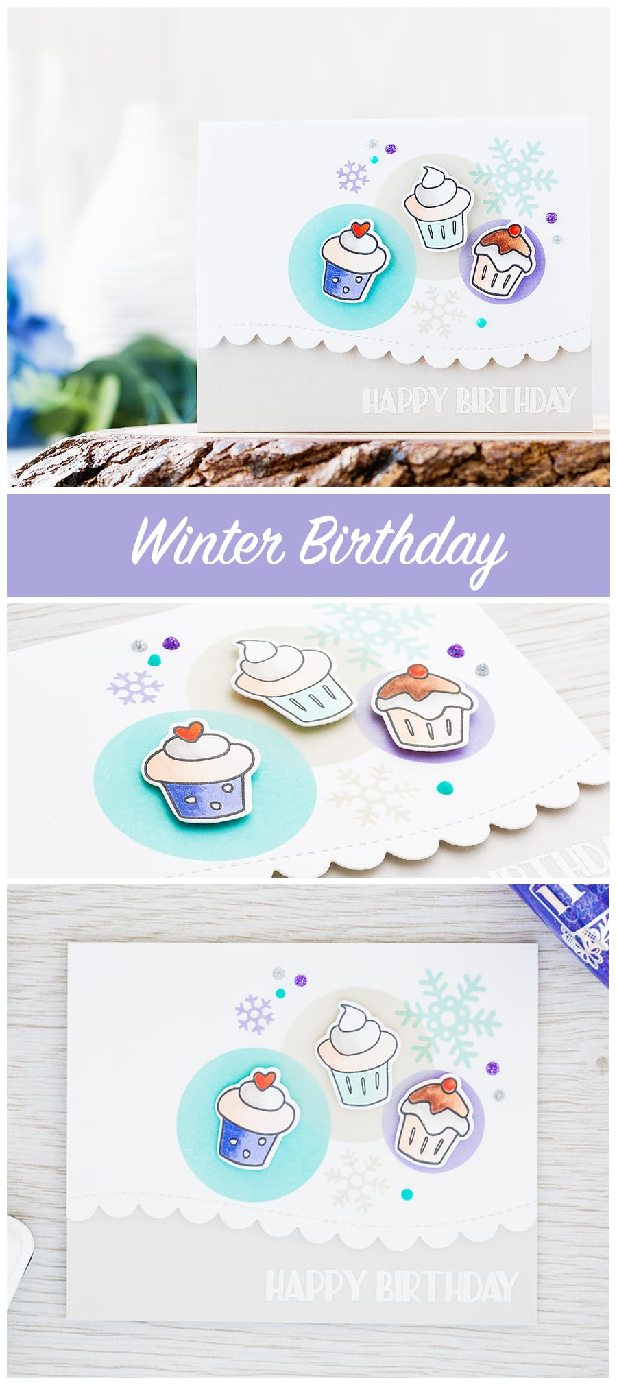 Snowflakes are the perfect accompaniment for a winter birthday card in a cool winter color palette. Find out more by clicking on the following link: http://limedoodledesign.com/2016/12/cool-cupcake-winter-birthday/