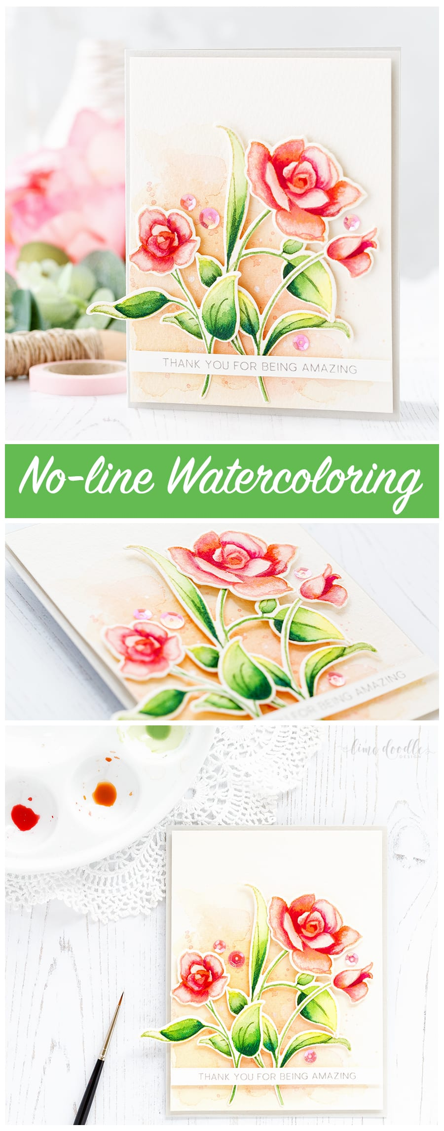 No line watercoloring of the beautiful Amazing You set from Altenew by Debby Hughes. Find out more by clicking on the following link: http://limedoodledesign.com/2017/01/altenew-january-release-blog-hop-ii-giveaway/