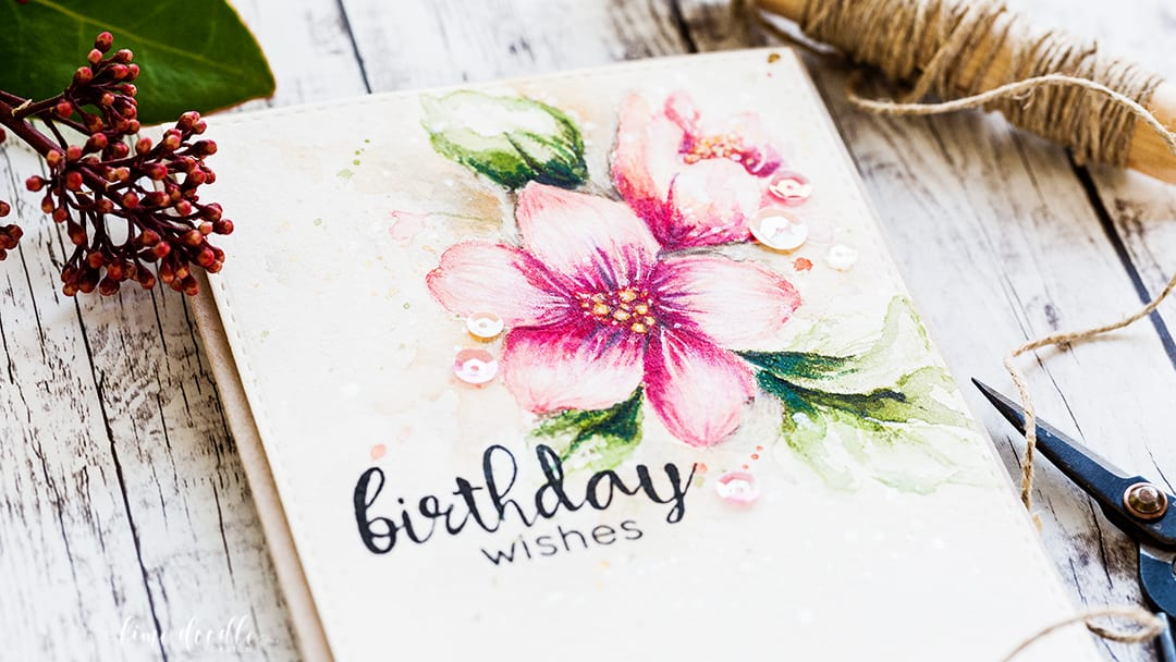 Watercolored hibiscus bouquet birthday card by Debby Hughes. Find out more about this card by clicking on the following link: http://limedoodledesign.com/2017/01/watercolored-hibiscus-bouquet/