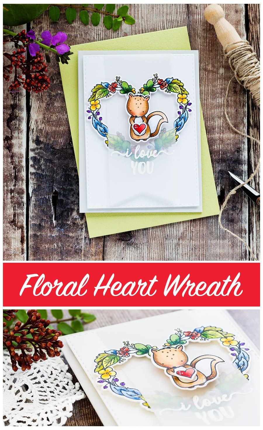 Floral heart wreath card by Debby Hughes. Find out more by clicking on the following link: http://limedoodledesign.com/2017/01/floral-heart-wreath/