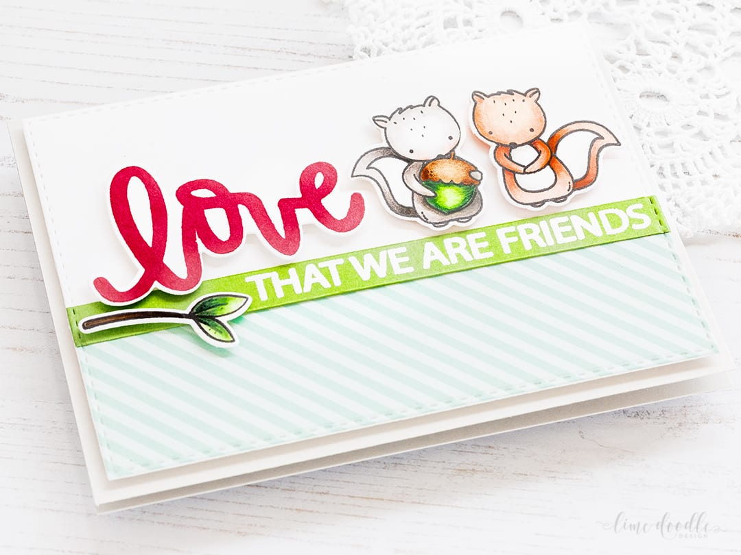 Friendship card - love that we are friends by Debby Hughes. Find out more by clicking on the following link: http://limedoodledesign.com/2017/01/friendship-card-love-that-we-are-friends/