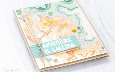 Watercolored Topography Masculine Card