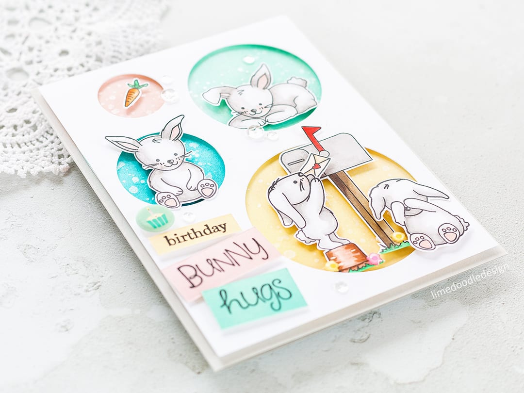 Bunny birthday card by Debby Hughes. Find out more by clicking on the following link: http://limedoodledesign.com/2017/03/simon-says-stamp-new-beginnings-blog-hop-giveaway/