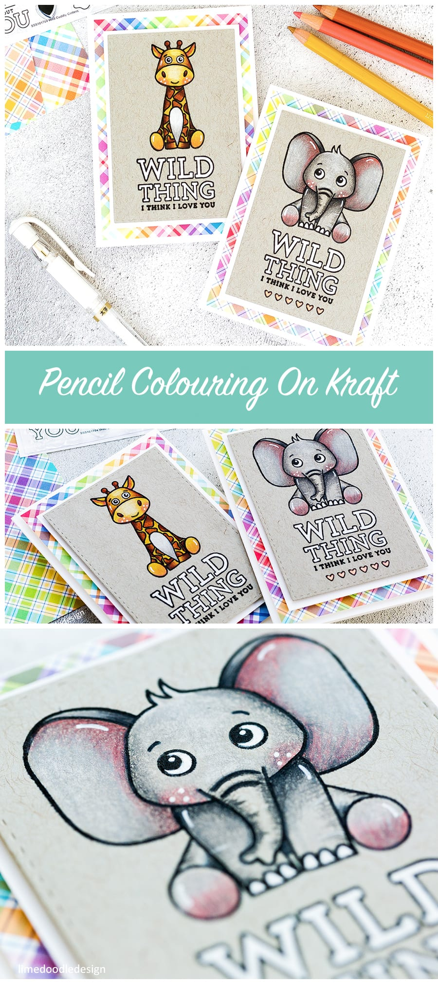Pencil colouring on kraft cute critters cards by Debby Hughes. Find out more by clicking on the following link: http://limedoodledesign.com/2017/03/pencil-coloring-on-kraft-simon-says-stamp-card-kit/