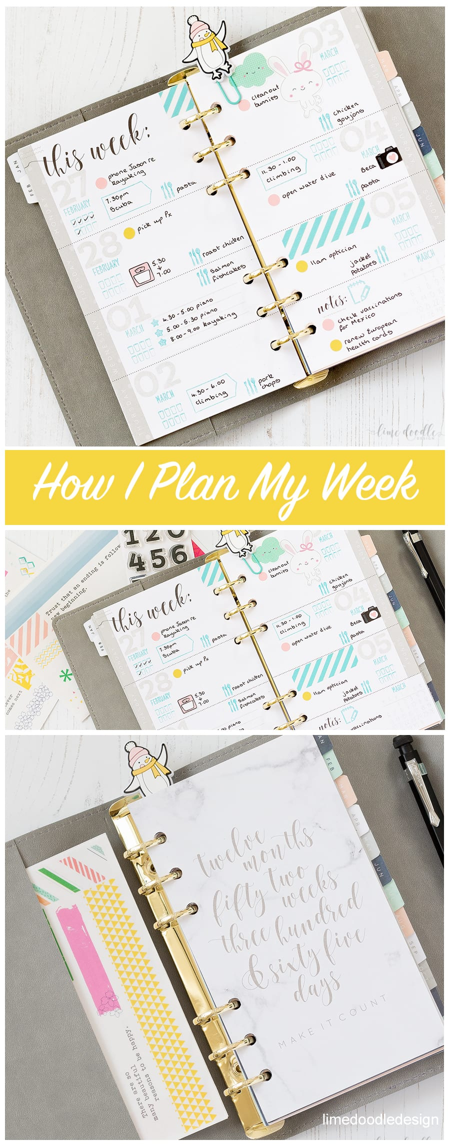 How I plan my week in a Kaisercraft planner by Debby Hughes. Find out more by clicking on the following link: http://limedoodledesign.com/2017/03/video-how-i-plan-out-my-week/