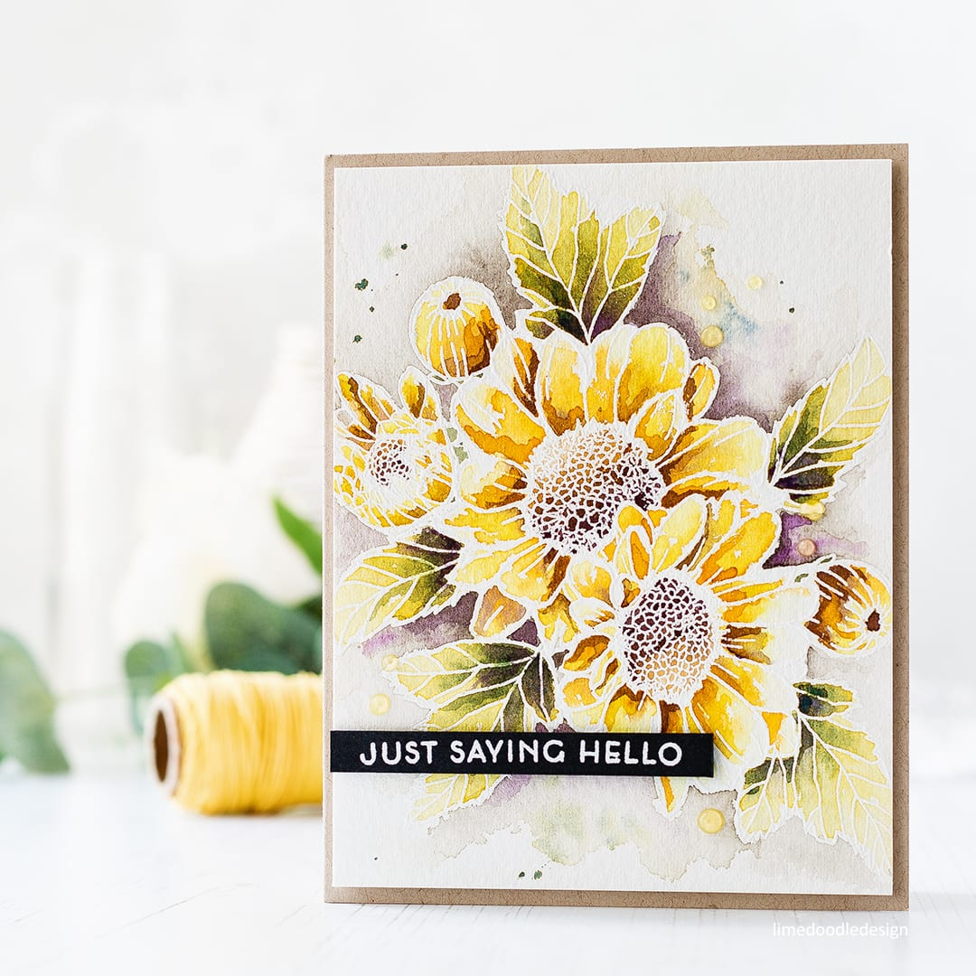 Just saying hello - watercoloured Altenew Spring Daisy card by Debby Hughes. Find out more about this card by clicking on the following link: http://limedoodledesign.com/2017/04/altenews-3rd-anniversary-blog-hop-giveaway-winner/