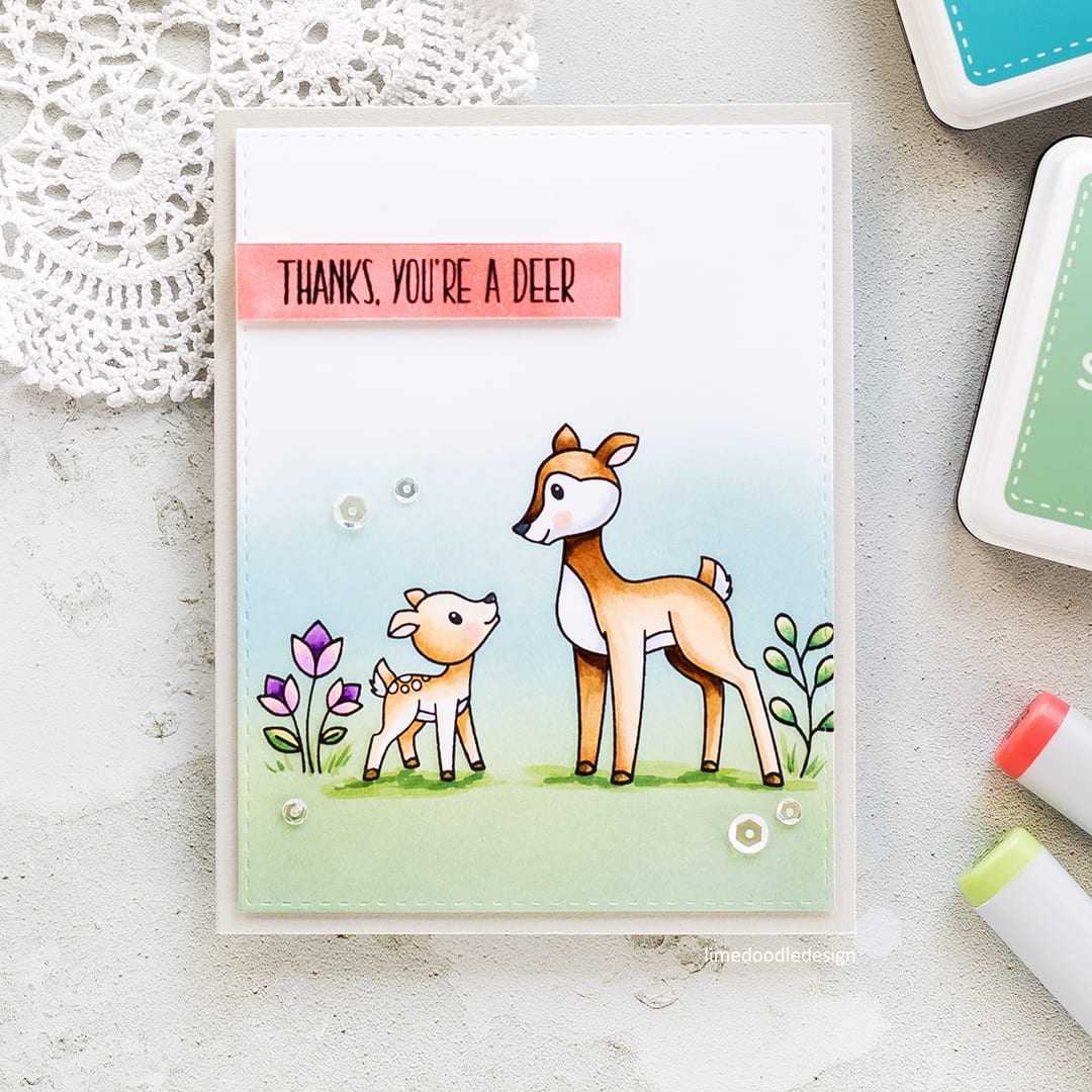 Thanks, You're A Deer card by Debby Hughes using the new Mothers Fathers Flowers release from Simon Says Stamp. Find out more by clicking on the following link: http://limedoodledesign.com/2017/04/mothers-fathers-flowers-sss-release-hop/