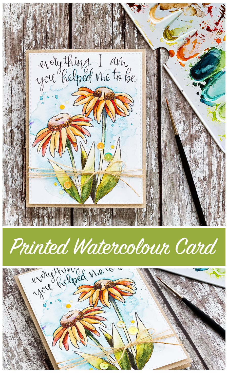Printed watercolour card by Debby Hughes. Find out more about this card by clicking on the following link: http://limedoodledesign.com/2017/04/printed-watercolour-card/