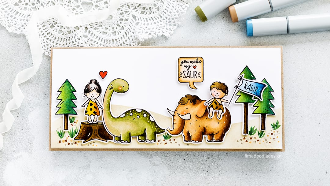 You make my heart saur! Cute dinosaur card by Debby Hughes using the new Neat & Tangled Prehistoric set. Find out more about this card by clicking on the following link: http://limedoodledesign.com/2017/05/you-make-my-heart-saur-neat-and-tangled-prehistoric/