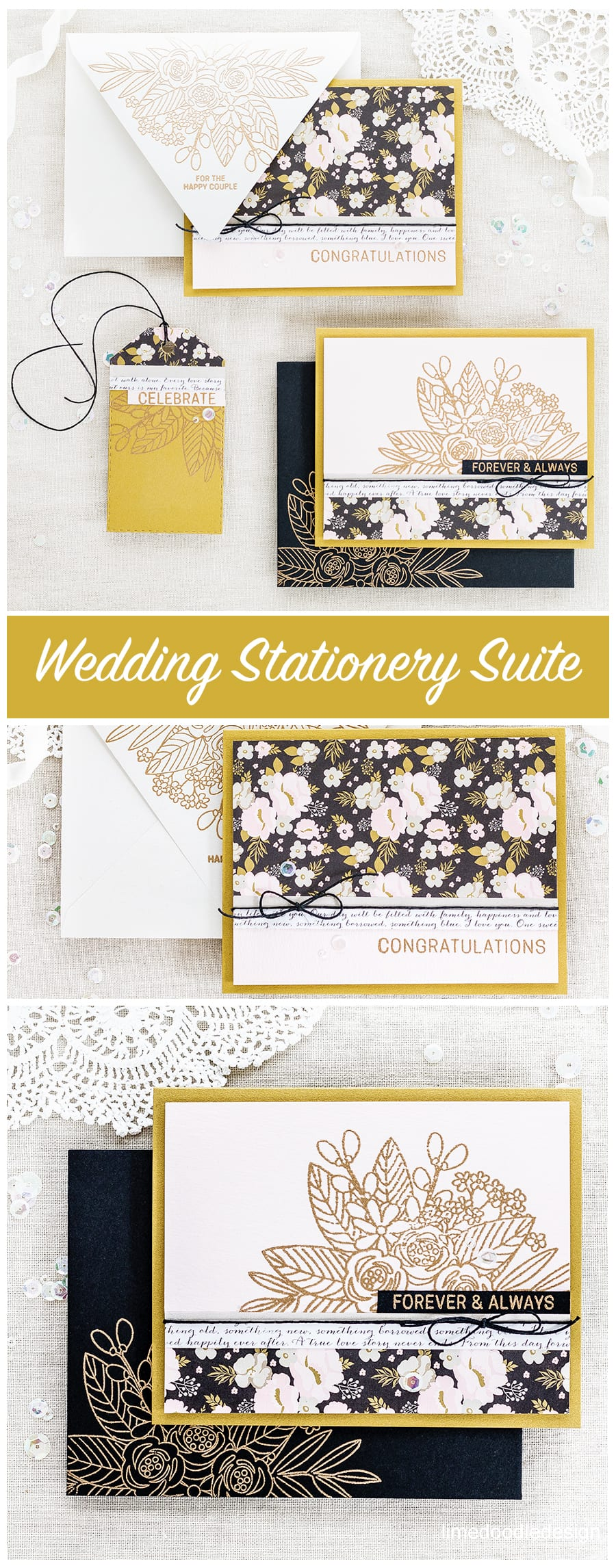 Wedding stationery suite by Debby Hughes using the Simons Says Stamp June Card Kit. Find out more about these cards, envelopes and tag by clicking on the following link: http://limedoodledesign.com/2017/05/wedding-suite-simon-says-stamp-june-card-kit/