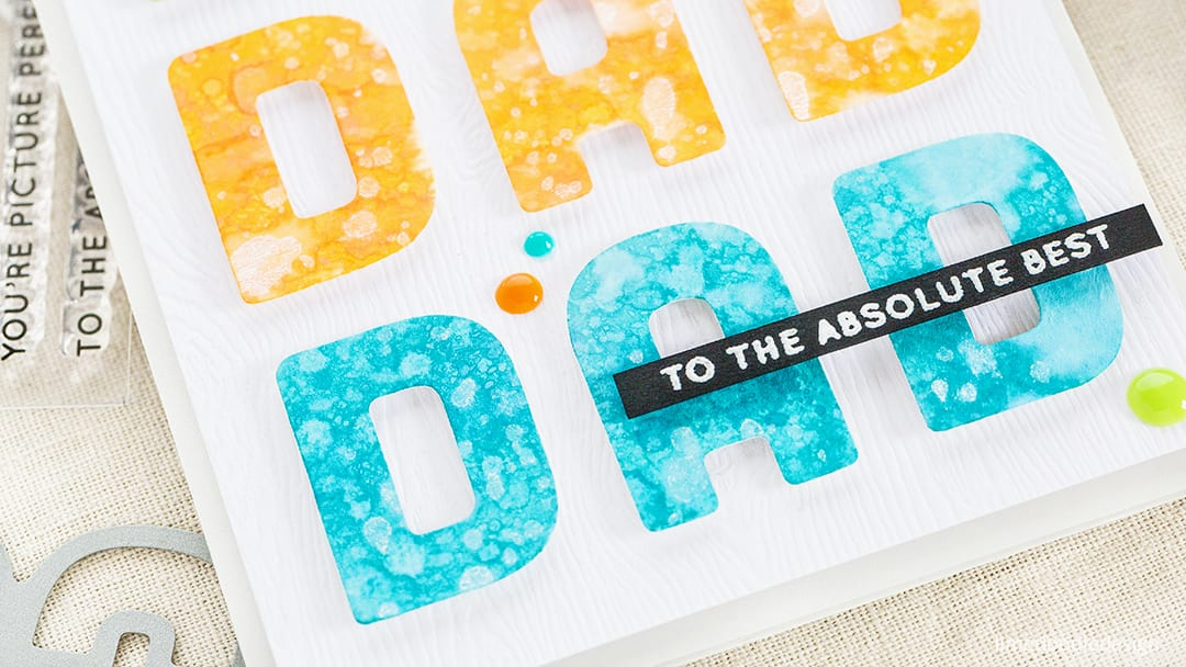 Bright, clean and simple Father's Day card by Debby Hughes using the Simon Says Stamp Big Dad die. Find out more about this card by clicking on the following link: http://limedoodledesign.com/2017/05/to-the-absolute-best-dad/