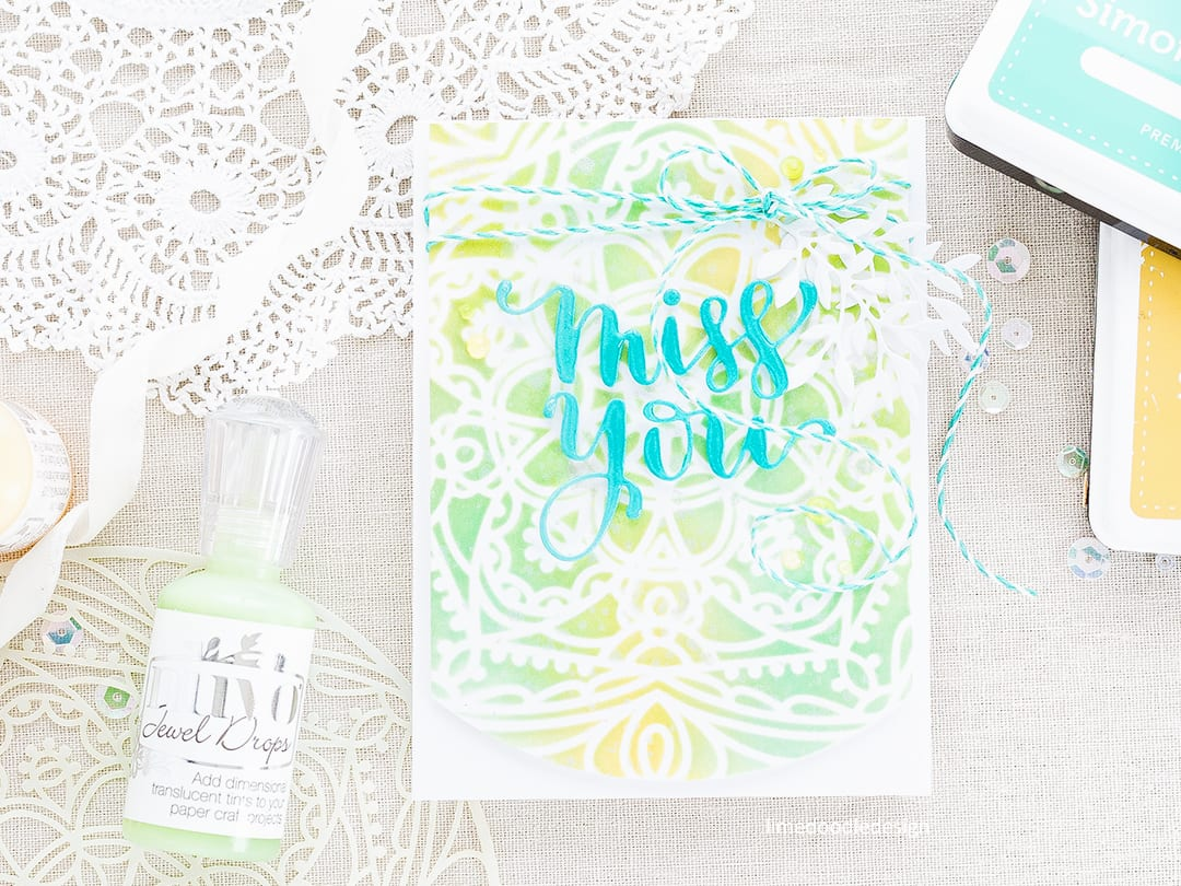 Stencilled background card by Debby Hughes. Find out more about this card by clicking on the following link: http://limedoodledesign.com/2017/05/simon-says-stamp-cherished-release-blog-hop-giveaway/