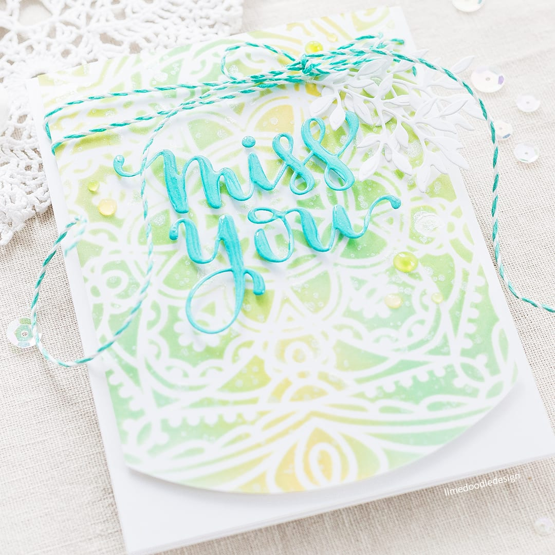 Stencilled Background - card by Debby Hughes showcasing ink blended through one of the new Simon Says Stamp stencils. Find out more by clicking the following link: http://limedoodledesign.com/2017/05/new-simon-says-stamp-cherished-release-miss-you/