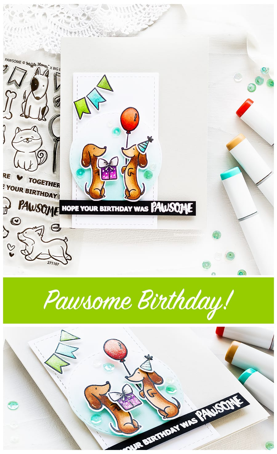 Video tutorial - simple Copic colouring the sweet Dachshunds from the Waffle Flower Pawsome set. Find out more about this cute birthday card by clicking on the following link: http://limedoodledesign.com/2017/05/video-sweetest-dachshunds-waffle-flower-pawsome/