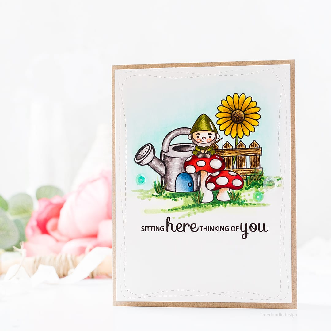 Sitting here thinking of you Garden Gnomes handmade card by Debby Hughes. Find out more about this card by clicking on the following link http://limedoodledesign.com/2017/06/sitting-here-thinking-of-you/