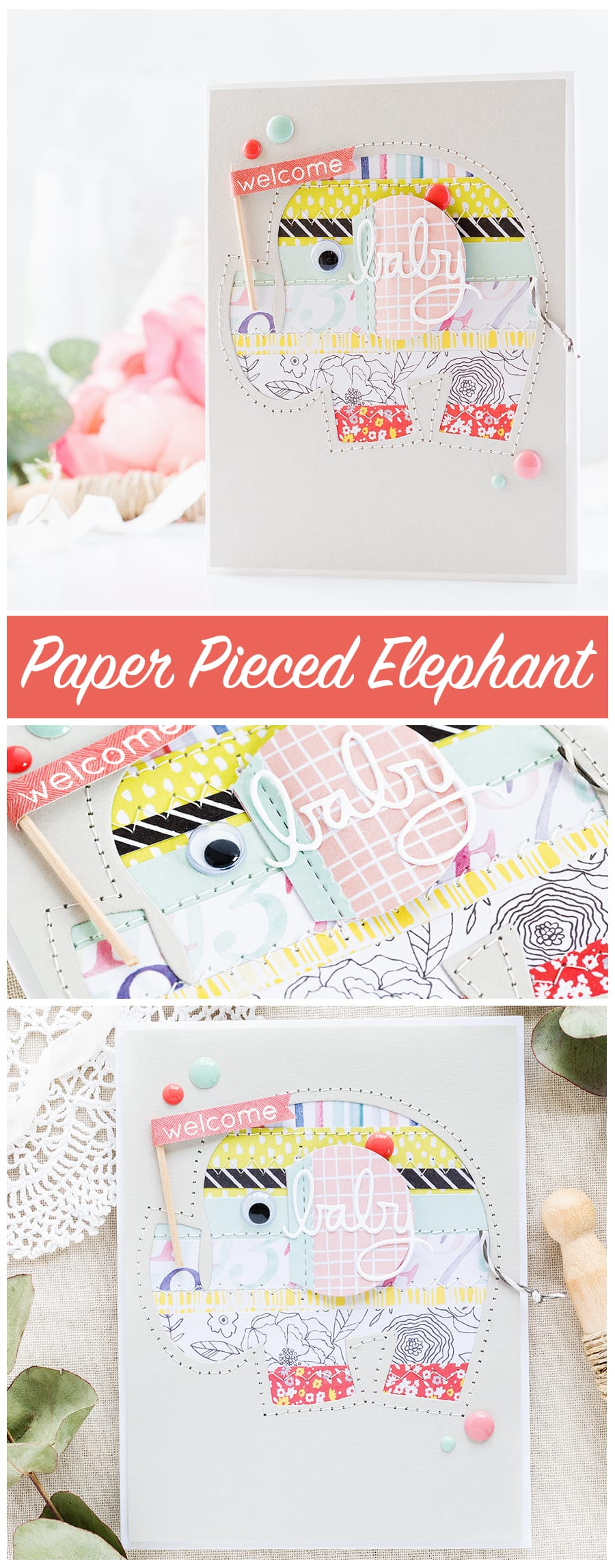Inspiration series part II by Debby Hughes - negative paper piecing handmade elephant baby card. Find out more http://limedoodledesign.com/2017/06/negative-paper-piecing-inspiration-series-part-ii/