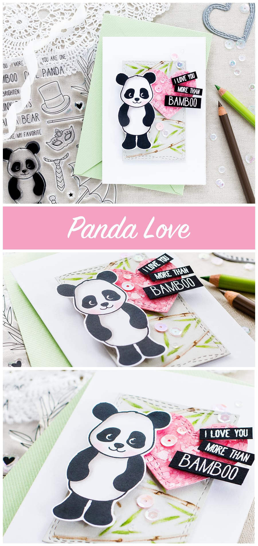 Cute panda card by Debby Hughes. Find out more by clicking on the following link: http://limedoodledesign.com/2017/06/panda-love/