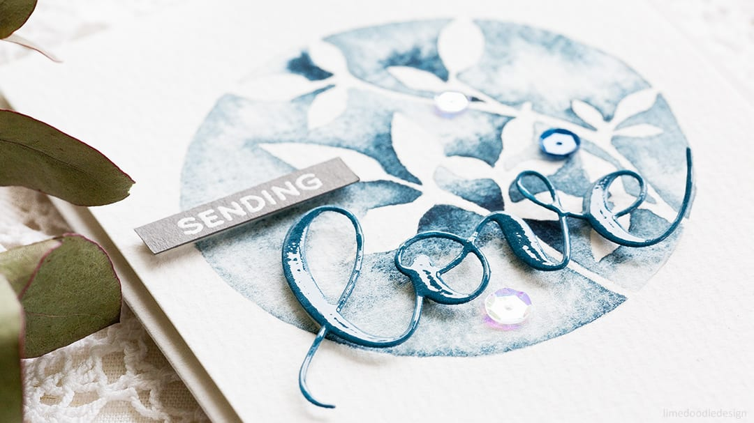 Handmade card trio by Debby Hughes inspired by the beautiful watercolours of Emily Jeffords. Find out more http://limedoodledesign.com/2017/07/negative-painting-botanicals/