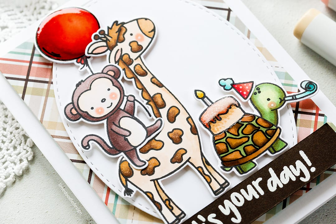Cute critters birthday card by Debby Hughes to celebrate Neat & Tangled's 5th birthday. Find out more about this handmade card here: http://limedoodledesign.com/2017/08/happy-birthday-neat-tangled-new-release/