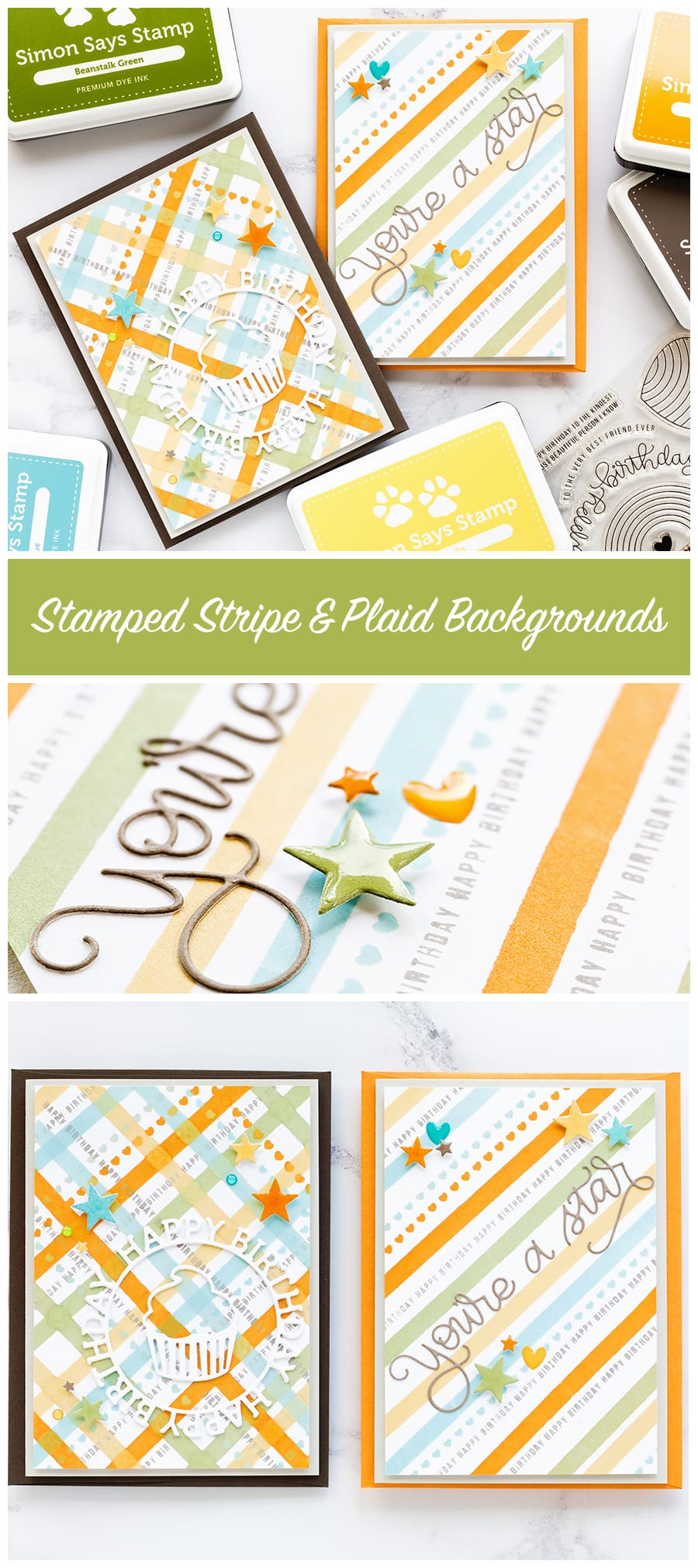 Stamped striped and plaid backgrounds with a few simple die cuts to embellish make great boys cards. Find out more about these handmade cards by Debby Hughes here: http://limedoodledesign.com/2017/08/stamped-striped-plaid-backgrounds/