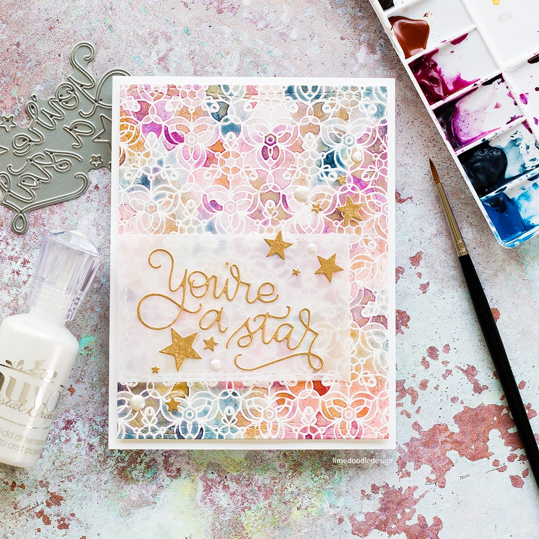 You're A Star, Emboss Resist Watercolour handmade card by Debby Hughes. Find out more here: http://limedoodledesign.com/2017/08/emboss-resist-watercoloured-background/