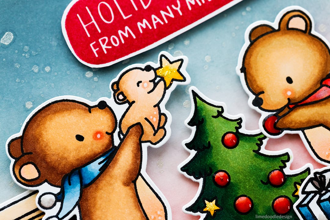 The cutest Holiday handmade cards by Debby Hughes using the Mama Elephant A Beary Christmas set. Find out more here: http://limedoodledesign.com/2017/09/mama-elephant-stampede-cute-christmas-scenes/