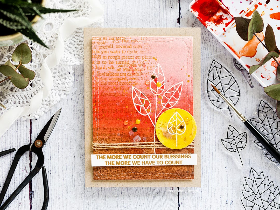 Watercoloured autumn leaves handmade card by Debby Hughes as part of a blog hop to celebrate Simon Says Stamp's STAMPtember new release. Find out more here: http://limedoodledesign.com/2017/09/stamptember-blog-hop-watercoloured-blessings-giveaway/