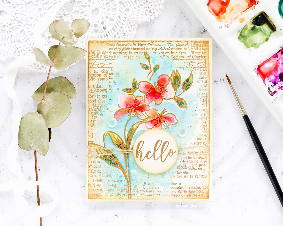 Vintage watercoloured floral hello handmade card by Debby Hughes using the Altenew STAMPtember Fabulous You set. Find out more here: http://limedoodledesign.com/2017/09/altenew-stamptember/