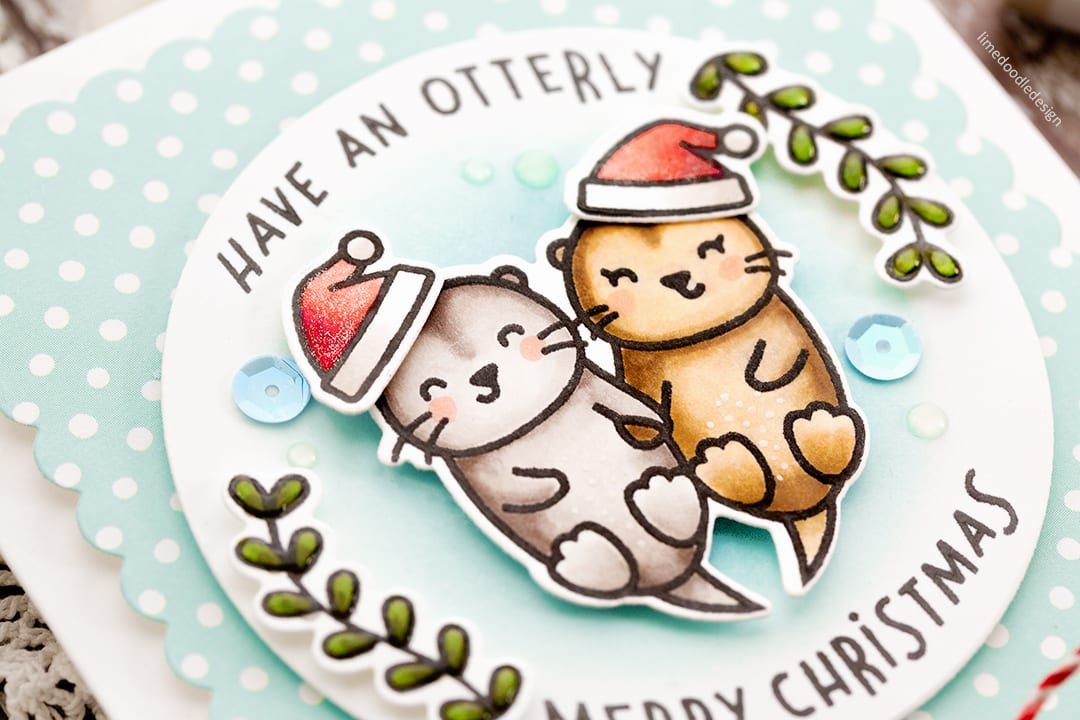 The much anticipated and always highly popular Lawn Fawn STAMPtember 2017 set - Christmas Like No Otter. Handmade card by Debby Hughes. Find out more here: http://limedoodledesign.com/2017/09/lawn-fawn-stamptember/
