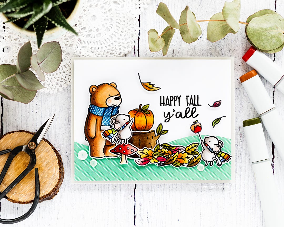 Cute fall handmade card by Debby Hughes using the new Hello Pumpkin STAMPtember collaboration set from Neat & Tangled. Find out more about this card here: http://limedoodledesign.com/2017/09/neat-tangled-stamptember/