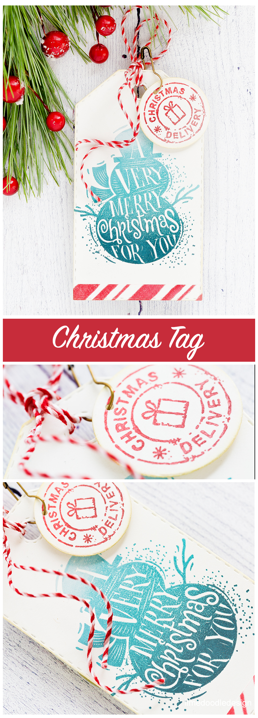 Watercoloured Holiday handmade card and stamped Holiday tag by Debby Hughes using the new Tim Holtz Stampers Anonymous STAMPtember 2017 stamp and stencil set. Find out more here: http://limedoodledesign.com/2017/09/tim-holtz-stampers-anonymous-stamptember-winner/