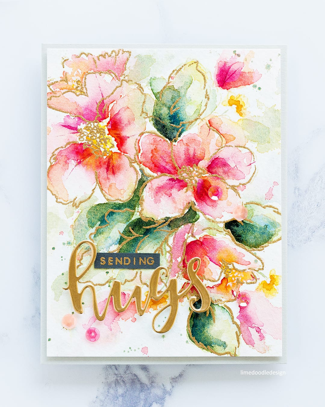 Watercoloured Hibiscus handmade card by Debby Hughes using the Altenew Hibiscus Burst stamp set and Rose Gold embossing powder. Find out more here: http://limedoodledesign.com/2017/10/altenew-october-2017-release-blog-hop-giveaway/