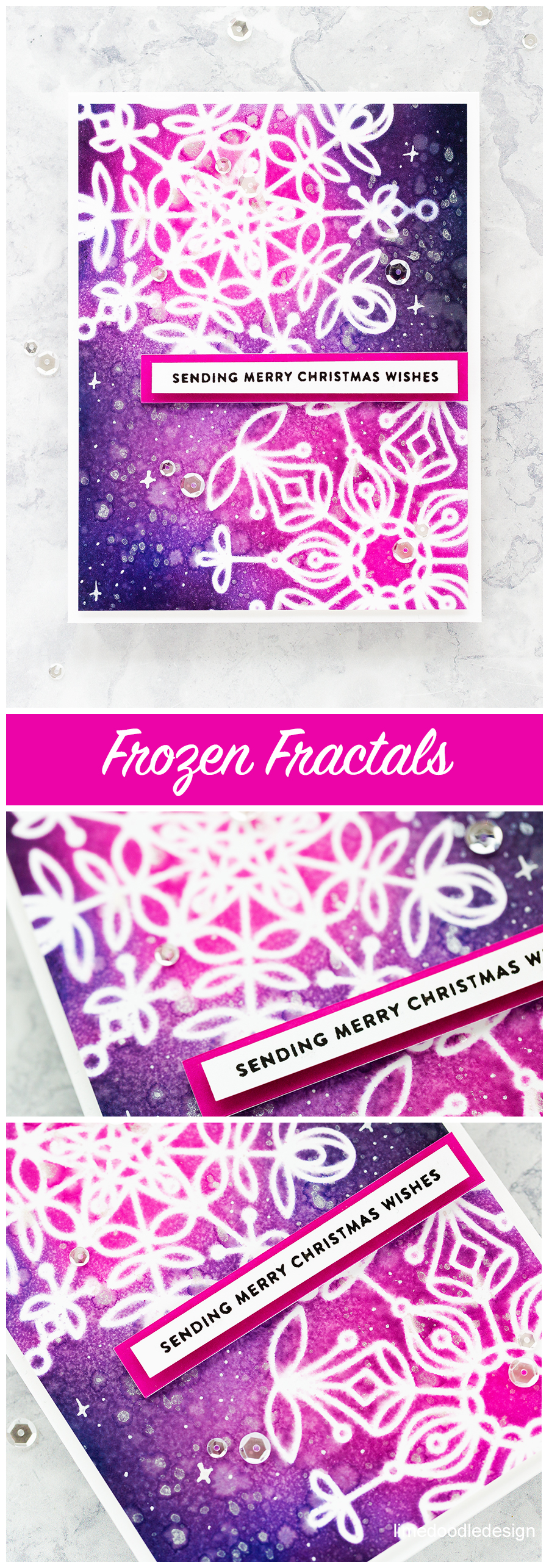 Frozen Fractals stencils - handmade Christmas card by Debby Hughes and a look at the new Holiday release from Simon Says Stamp. Find out more here: http://limedoodledesign.com/2017/10/delicate-stencil-snowflakes-simon-says-stamp-holiday-release/