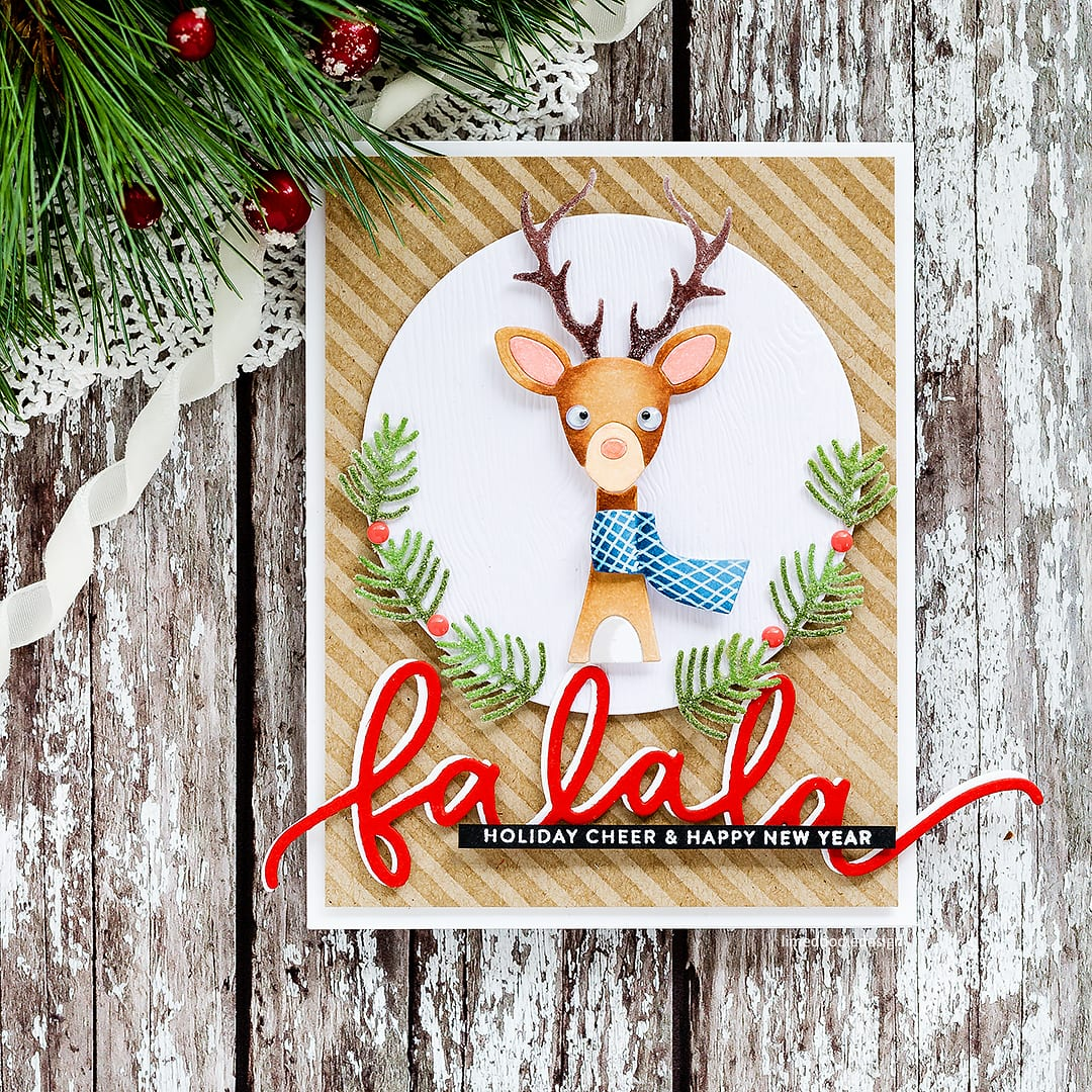Cute picture book deer handmade Christmas card by Debby Hughes using the new Holiday release from Simon Says Stamp. Find out more here: http://limedoodledesign.com/2017/10/simon-says-stamp-holiday-release-blog-hop/