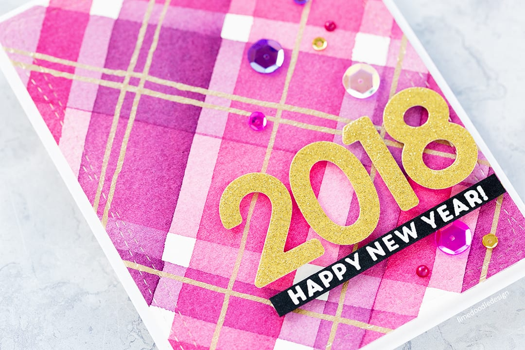 New Year watercolour plaid handmade card for World Cardmaking Day from Simon Says Stamp. Find out more here: http://limedoodledesign.com/2017/10/watercoloured-plaid-for-world-card-making-day/