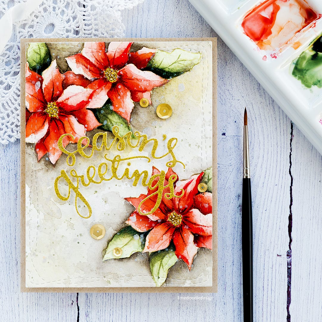 Watercoloured poinsettias handmade Christmas card by Debby Hughes. Find out more here: http://limedoodledesign.com/2017/10/watercoloured-poinsettias-blog-hop-giveaway/