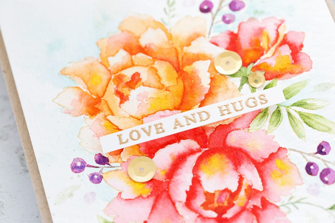 Watercoloured peonies handmade card by Debby Hughes using Altenew Peony Bouquet stamp set. Find out more here: http://limedoodledesign.com/2017/11/watercoloured-peonies/