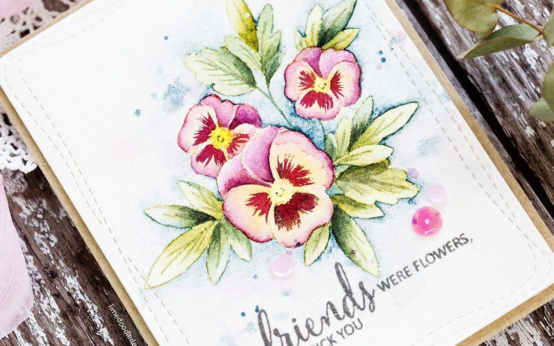 Watercoloured Pansies